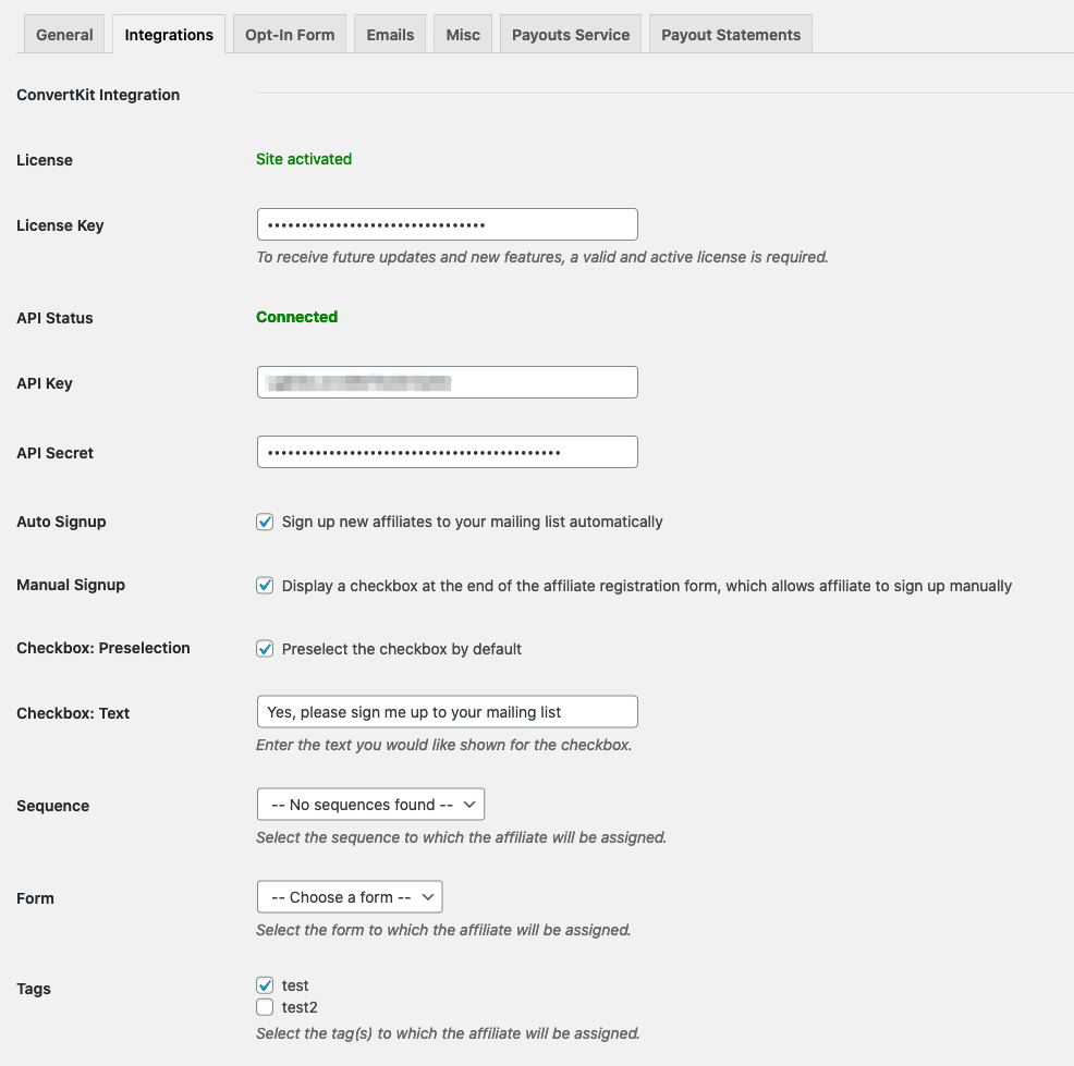 AffiliateWP - ConvertKit - Plugin Settings